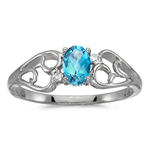 0.40 Carat (ctw) 10k Gold Oval Blue Topaz and Diamond Heart Shape Swirl Filigree Fashion Promise Ring (6 x 4 MM)