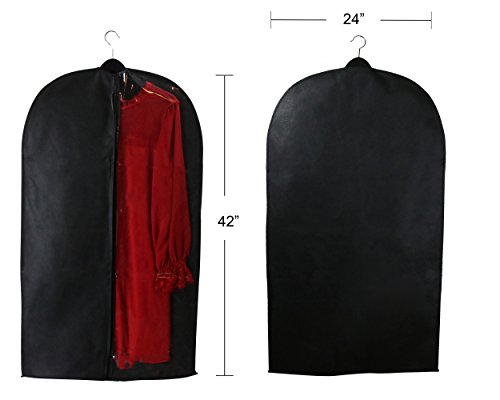 Caskyan 42'' Garment Bags, Breathable Black Non-Woven Fabric + Clear PVC for Dresses, Coats, Suits, Storage or Travel- 2 Pcs by CASKYAN (Image #3)