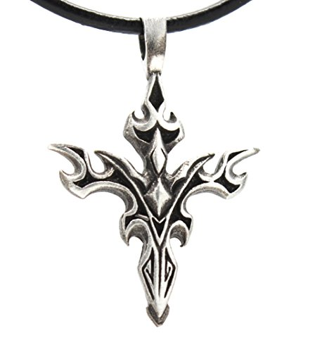 Pewter Gothic Cross Tribal Pendant on Leather (Cross Pewter Pendant Leather Necklace)
