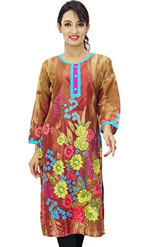 Diseñador indio de Bollywood florales algodón desgaste de mujeres étnico Kurti Top Túnica Brown-2