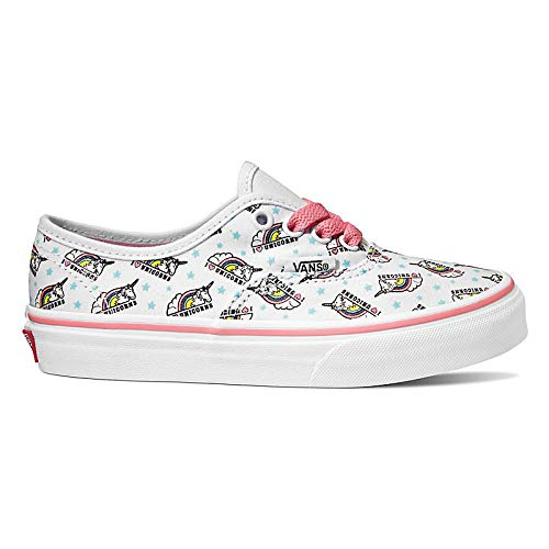 (Vans Authentic (VI9) (Unicorn) True White/Strawberry Pink Youth VN0A38H3VI9 5)