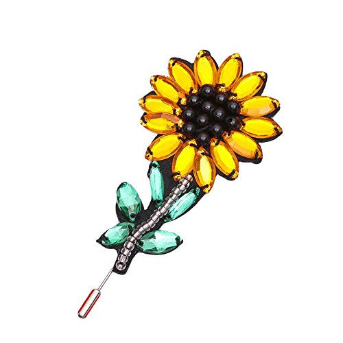 Red Cube Sweet Sunflower Pin Brooch Yellow Green Black Silvertone Boho Ethnic Fashion Cute Floral Flower Jewelry (Sunflower) (Beads Turquoise Cube Yellow)