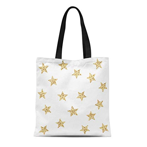 Semtomn Canvas Tote Bag Yellow Gold Stars Sequin Effect Made of Multicolor Squares Durable Reusable Shopping Shoulder Grocery Bag