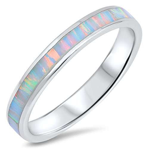 - White Simulated Opal Eternity Stackable Thumb Ring 925 Sterling Silver Band Size 10