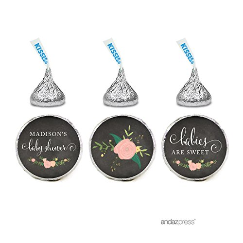 Andaz Press Chalkboard Floral Party Baby Shower Collection, Personalized Chocolate Drop Labels for Hershey's Kisses Party Favors, Baby Shower Babies are Sweet, 216-Pack, Custom (Cheap Personalized Party Favors)