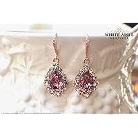 Antique Pink Rose Gold Bridal Earrings Wedding Jewelry Set Swarovski Crystal Custom Pendant Earrings Bracelet Hair Comb Hair Pins