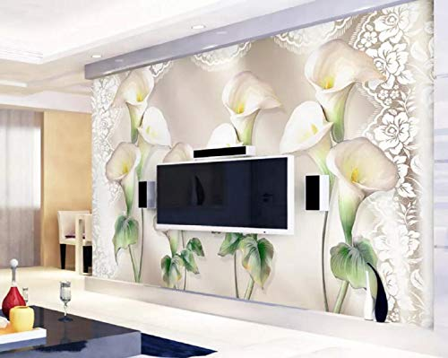 Wallpaper 3D Modern Satin Embossed Calla Lily Wall Custom Large Mural 3D Effect Living Room Bedroom Wall Murals