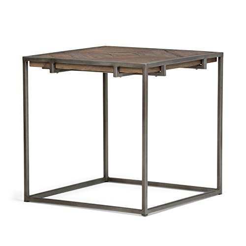 Simpli Home AXCAVY-02 Avery Solid Aged Elm Wood 20 inch Wide Square Modern Industrial End Side Table in Distressed Java Brown Wood Inlay