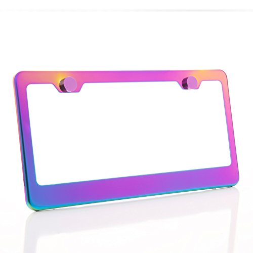 KA LEGEND One Polish Mirror Neo Chrome T304 Stainless Steel License Plate Frame Holder Front Or Rear Bracket with Metal Screw Cap ()