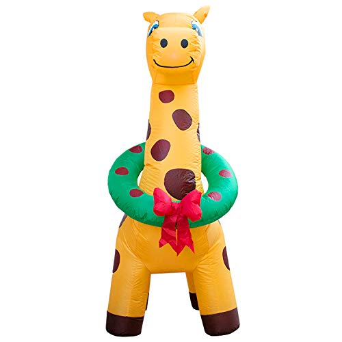 Holidayana 6-Foot Inflatable Christmas Giraffe with Wreath Christmas Decoration, Airblown, Includes Built-in Bulb, Tie-Down Points, and Powerful Built in Fan