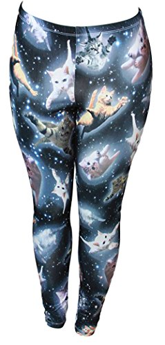 FREEZE Cute Space Kitten Ladies Leggings (Medium, Black) -