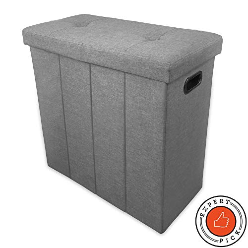 Ginsey Home Solutions Foldable Seated Hamper in Light Grey