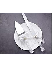 MBBITL Wedding Cake Knife Server Set Bowknot Stainless Steel Party Serving for Anniversary Baby Shower Party