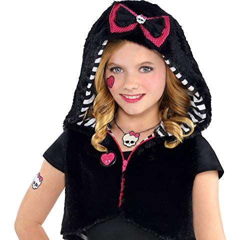 Monster High Fur Hoodie, Cropped Halloween Jacket for Girls, One Size, by Amscan ()