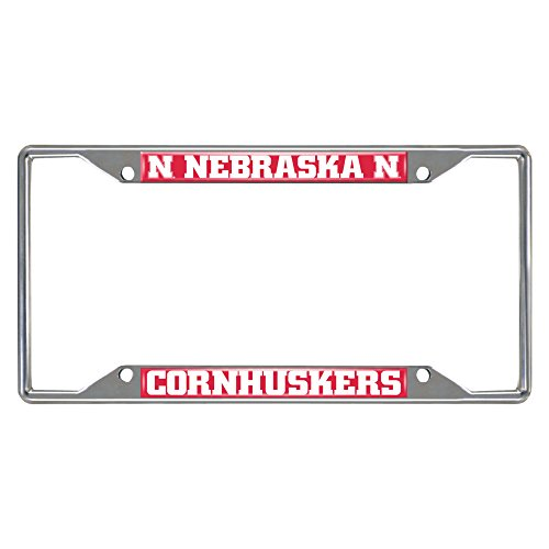 Ncaa Nebraska University (FANMATS NCAA University of Nebraska Cornhuskers Chrome License Plate Frame)