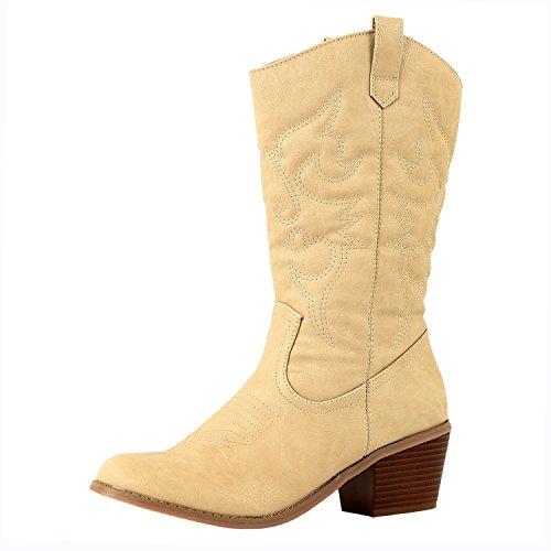 West Blvd - Miami - Cowboys Western Damen Stickerei Stitching Boots Beige Pu