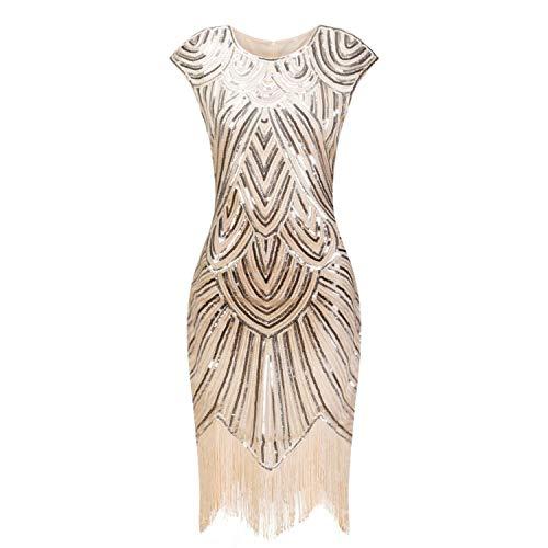 Vintage 1920s Flapper Great Gatsby Dress O-Neck Cap Sleeve Sequin Fringe Party Midi Dress -