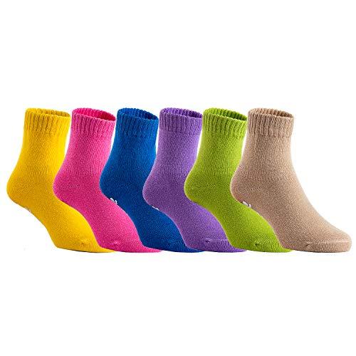(Lovely Annie Unisex Children 6 Pairs Pack Non Slip Pure Cotton Socks 3Y-5Y Multi)