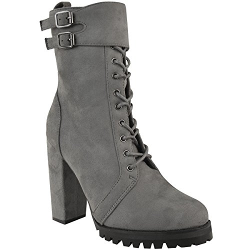 Fashion Thirsty Womens Lace Up Ankle Boots Chunky Worker Grip Sole Shoes Size Grey Faux Suede hFlPWIQB