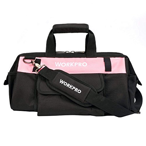WORKPRO 16-inch Tool Bag - Pink Lady Tool Organizer, Wide Mouth Open Tote, Multiple Pockets with Adjustable Shoulder Strap