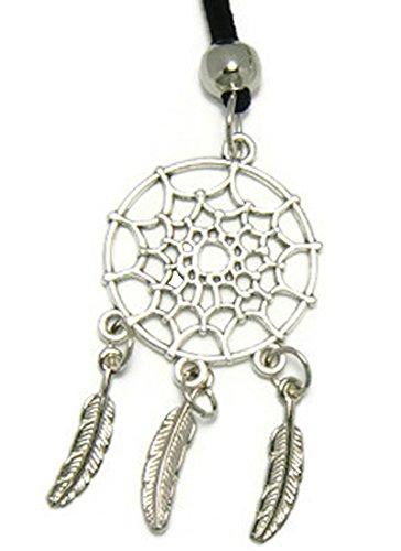 [ZVACE Jewelry Silver-Tone Dreamcatcher Pendant Adjustable Leather Long Necklace (Black), NSA4] (J Valentine Unicorn Costume)