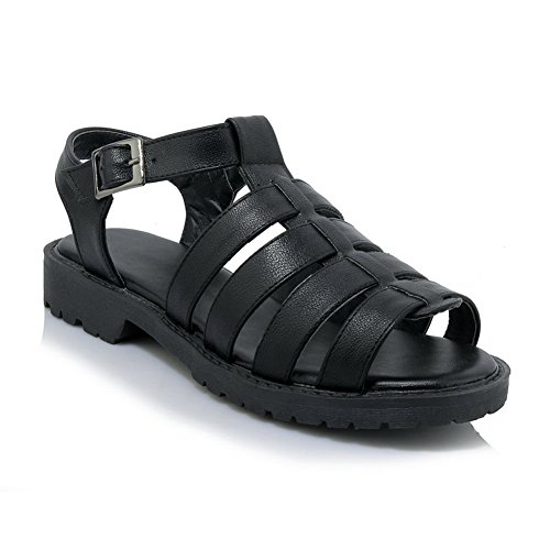 AdeeSu Womens Sandals Peep-Toe Buckle Heeled Leather-and-Synthetic Huarache Treaded-Sole Hiking Smooth Leather Urethane Sandals SLC03513 Black