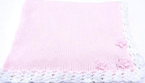knitted-hand-crochet-finished-pink-cotton-white-chenille-trim-baby-blanket
