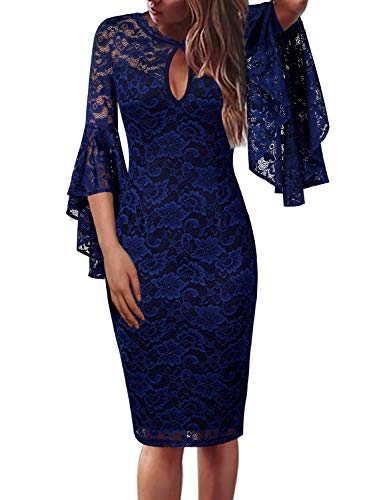 (VFSHOW Womens Blue Floral Lace Keyhole Front Ruffle Bell Sleeves Fitted Cocktail Party Sheath Dress 960 BLU S)