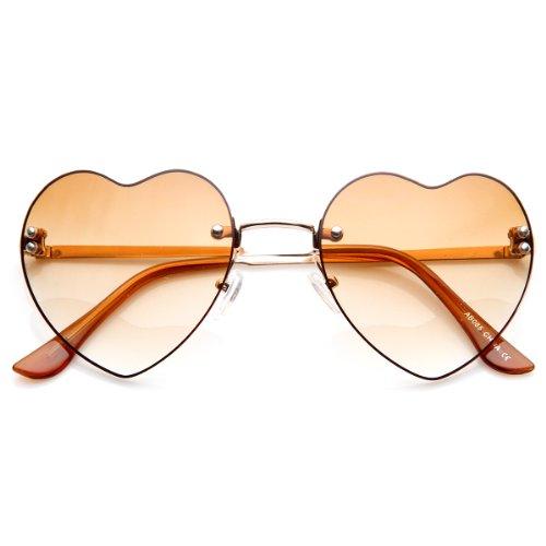 zeroUV - Small Thin Rimless Heart Shaped Womens Sunglasses - Small Sunglasses Rimless