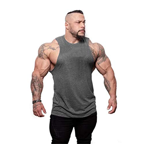 Bsjmlxg Men's Fashion Round Collar Casual Daily Pure Color Outdoor Elliptical Hem Casual Fitness Sport T-Shirt Vest Tops Gray