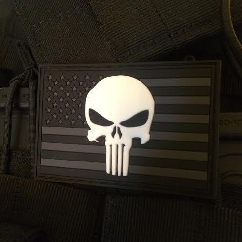 UPC 703110160281, Punisher US Flag PVC Patch - SWAT Edition