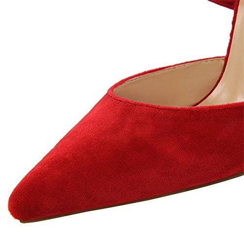 z&dw Elegante show Sexy Slim con tacones altos ante la boca poco profunda de punta hueca sandalias de banda cruzada Rojo