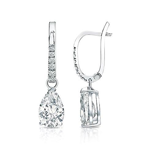 IGI Certified 14k White Gold Pear-cut Diamond Dangle V-End Prong Earrings (2 cttw, White, SI2-I1) - I1 Pear Earrings
