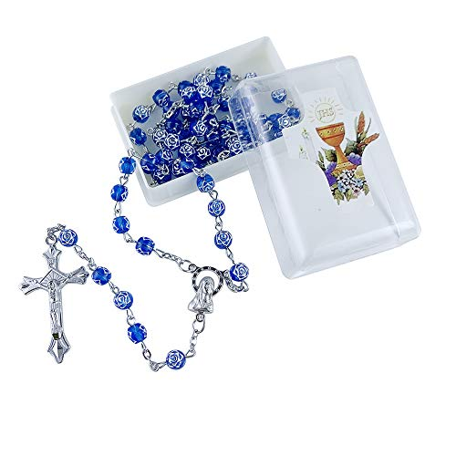 First Communion Rosary Favor for Boy 12 Pcs - Blue Rosebud Beads with Gift Box