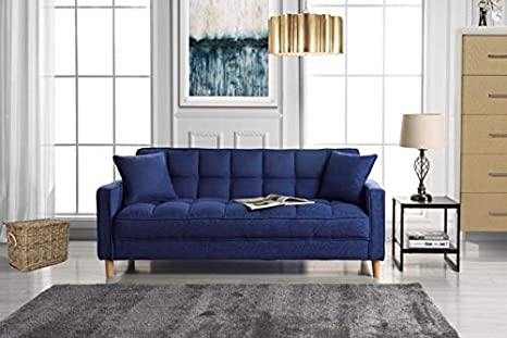 DIVANO ROMA FURNITURE Modern Linen Fabric Tufted Small Space Living Room  Sofa Couch (Dark Blue)
