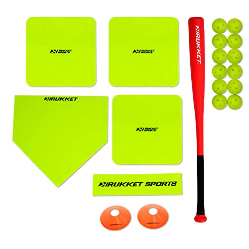 Rukket Softball Bases Set & Bat for Backyard/Field | Softball Throw Down Base | Limited Flight Impact Baseballs and Foul Line Cones | Rubber Throwdown Home Plate and Pitching Mound