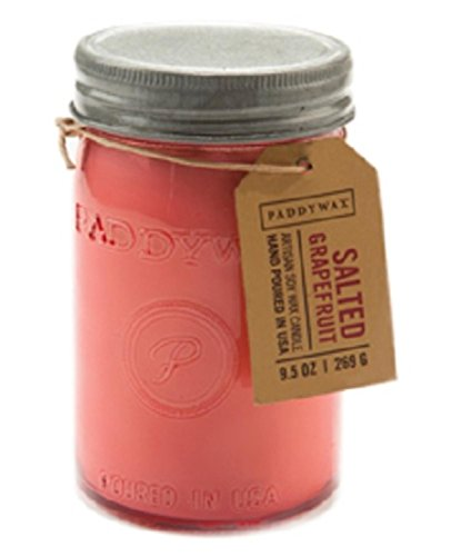 Pink Grapefruit Soy Candle - Paddywax Candles Relish Collection Soy Wax Blend Candle in Glass Mason Jar, Medium- 9.5 Ounce, Salted Grapefruit