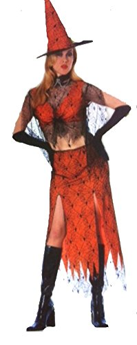 Wicked Wanda Mod Witch Orange and Black Adult Costume]()
