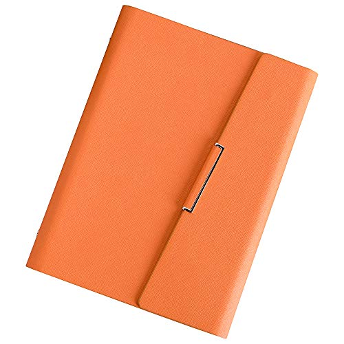 - CAIZHE Refillable Hardcover Journal Notebook PU Leather Loose Leaf Notebook, Inner Pocket / 6 Ring/Cream Paper / 80 Sheets / 5.5×8.25inch (Orange)