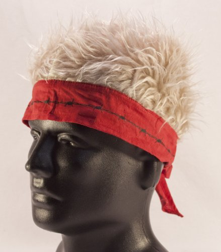 Red Barbed Wire Bandana with Blonde Hair]()