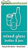 Recycling bin sticker 10cm x 15cm Mixed Glass