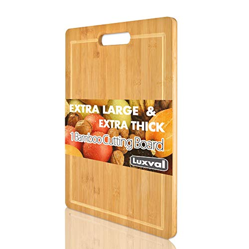 Extra Large Organic Bamboo Cutting Board and Plastic Flexible Cutting Mats Set