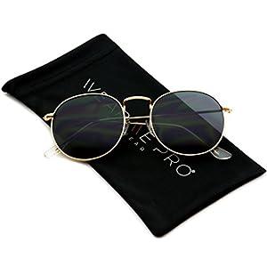 WearMe Pro - Reflective Lens Round Trendy Sunglasses ( Gold Frame / Black Lens, 50)