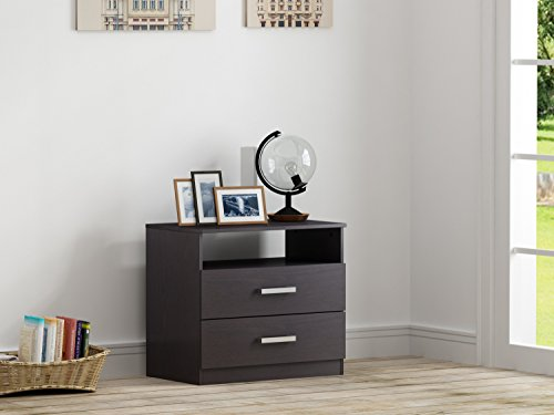 Homestar EB209106B9 Alexander 2 Drawer Nightstand, 27.56 x 24.53 x 16.77'', Black Brown by Home Star