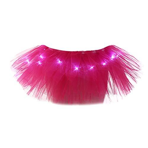 iYBUIA Women 5 Layers Mesh Tulle Skirt Princess Skirt with LED Small BulbSkirt -
