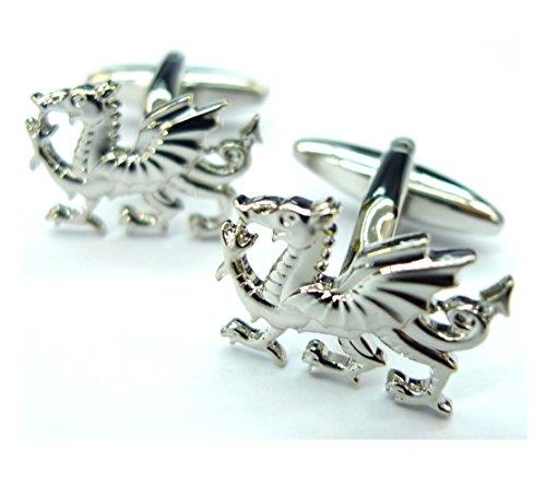 Silver Welsh Dragon Cufflinks Wales Y Ddraig Goch Red Dragon Gemelos 011048 S (Silver Welsh Dragon)