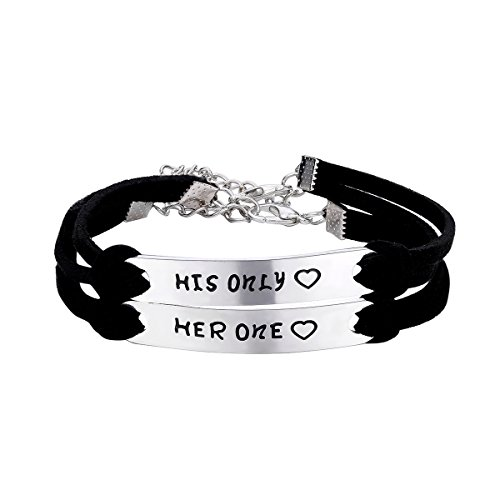 CJ&M Her One His Only Couples Bracelets,Boyfriend Girlfriend Jewelry / Personalized Couples Jewelry,His and Hers Anniversay Gift Set