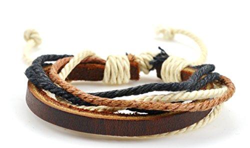 Fashion Jewelry Women Men Multiple Strand leather hemp cord adjustable bracelet - mix brown white black colors
