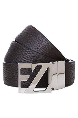 [Ermengildo Zegna Black Brown Pebbled Leather Reversible Adjustable Belt Bcrgj8 (105)] (Zegna Calfskin Belt)