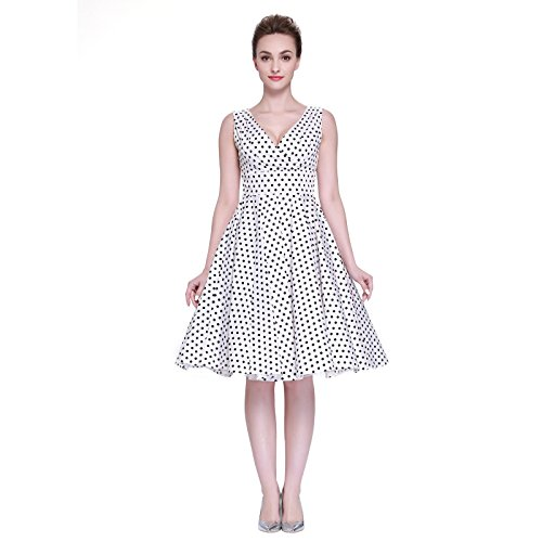 Heroecol Vintage 1950s 50s Dress Style Retro Rockabiily Cocktail Poka Dot XXL WB